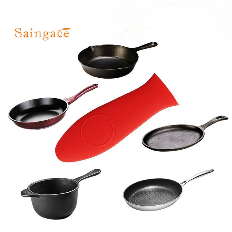 Simple And Durable Anti Skid Soft Non-Slip Silicone Hot Handle Holder protecting heat resistant pan handle cover set sale(China)