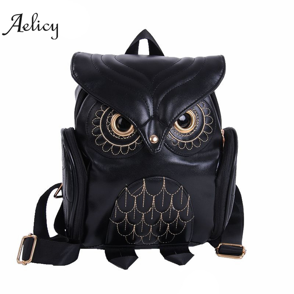 Aelicy Women Small Backpack Fashion Cartoon Cute Owl Backpacks Teenage PU Leather School Bags Student Bag Girls Travel Bags D45 zooler women s backpack eyes sequined designer black cartoon eyes backpacks travel bag cute shell backpacks for teenager girls