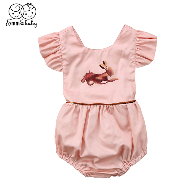 dfc8b7f392d Easter Bunny Romper For Girls 2018 Summer Newborn Baby Girl Pink Animal Printed  Romper Fashion Bebes Jumpsuit Hot Baby Clothing