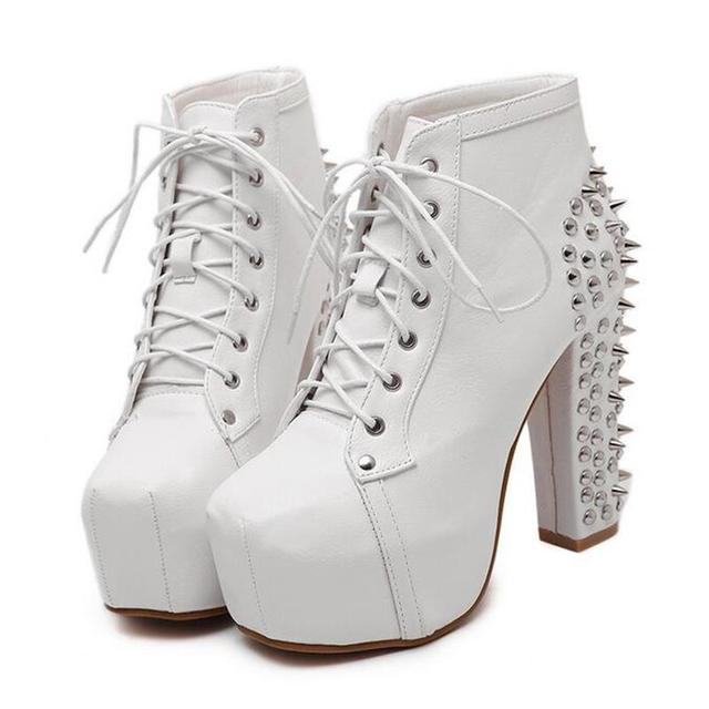 Women's High Heels Lace Up Punk Boots With Rivet Spikes