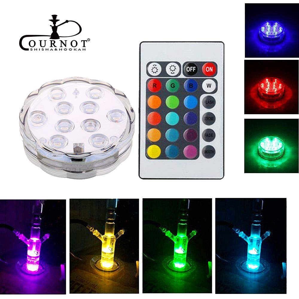 COURNOT RGB 16 Colors LED Light for Shisha Hookah Narguile Bar Decoration Festive Party Decoration With remote control