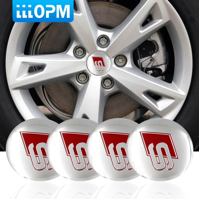 4PCS 56.5mm Car Tire Center Hub Caps Sticker Car Emblem Sticker For Audi S4 S5 S6 S7 S8 A3 A4 A5 A6 A7 A8 TT Car Accessories