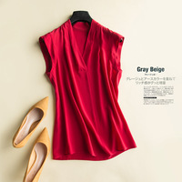 2018 Summer Brand Women's Shirt Heavy Silk T Shirts Big Size Sleeveless Pure Silk Top Short Plus Size