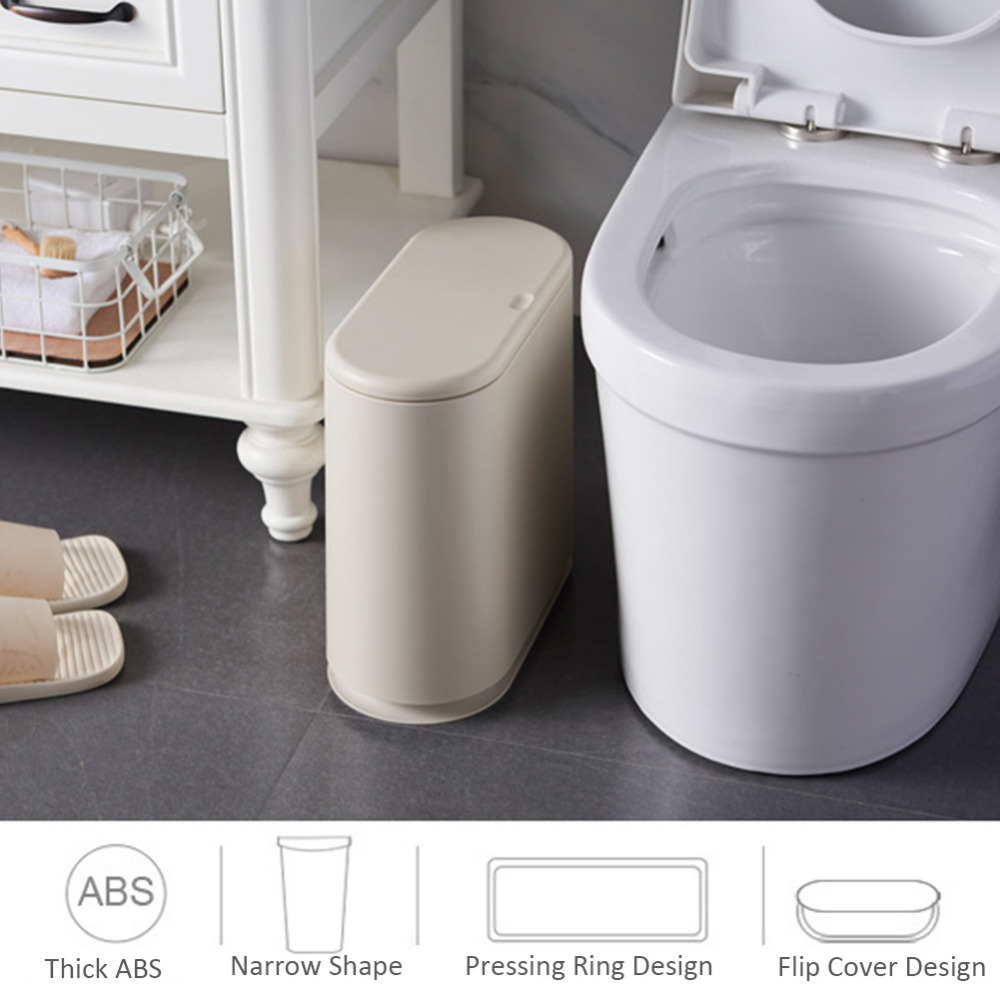 Pressing Type Plastic Trash Can Oval Push-Type Bullet Flip Cover Bathroom Sanitary Bucket Storage Bucket Household Cleaning ToolPressing Type Plastic Trash Can Oval Push-Type Bullet Flip Cover Bathroom Sanitary Bucket Storage Bucket Household Cleaning Tool