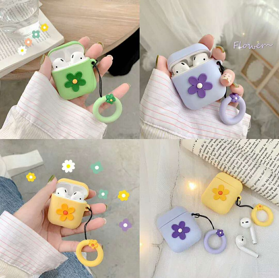 For AirPods Case Fashion ins style Cute Flower Candy Case For Apple Airpods 2 Earphone Protective Cover with Finger Ring Strap