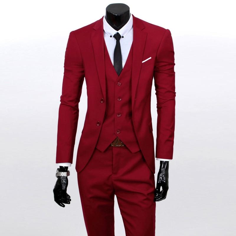 Latest Coat Pant Designs Red Formal Men Suit Blazer Prom Marriage ...
