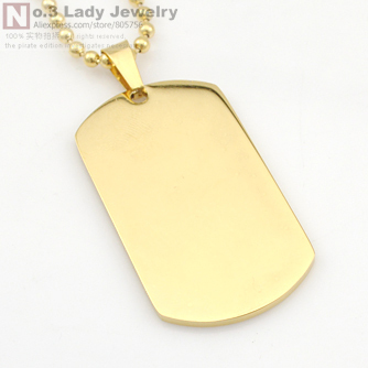 Fashion gold plated stainless steel military dog tag pendant fashion gold plated stainless steel military dog tag pendant necklace 5cm27cm aloadofball Choice Image