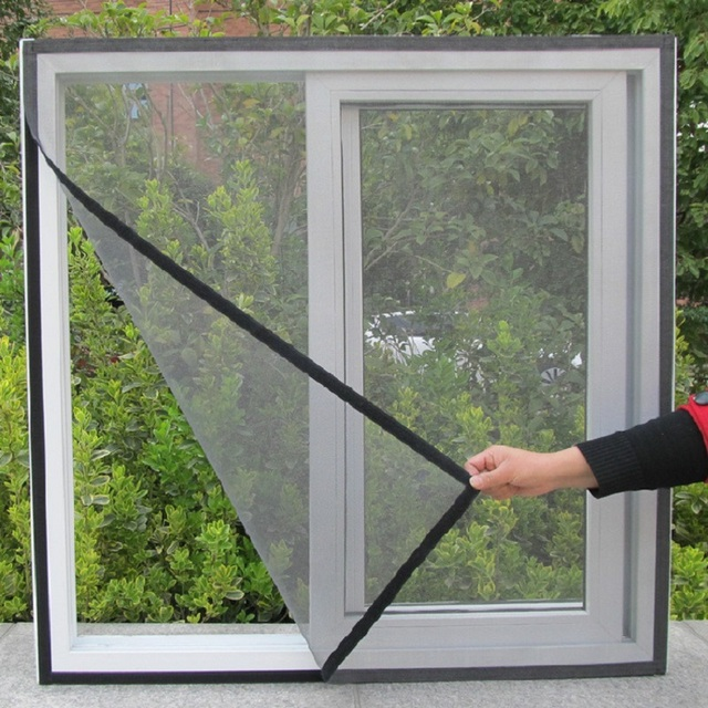 DIY Fly Screen Window Door Mesh White Black Insect Fly Mosquito Bug Screen  Self Adhesive