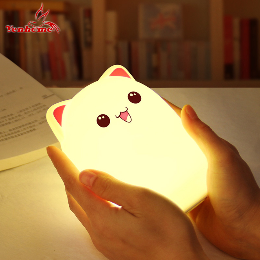 Pat to Change Color Cute Cat LED Rechargeable USB Lamp Silicone Soft Nightlight Kids Room Decor Lamp Breathing LED Night LightPat to Change Color Cute Cat LED Rechargeable USB Lamp Silicone Soft Nightlight Kids Room Decor Lamp Breathing LED Night Light