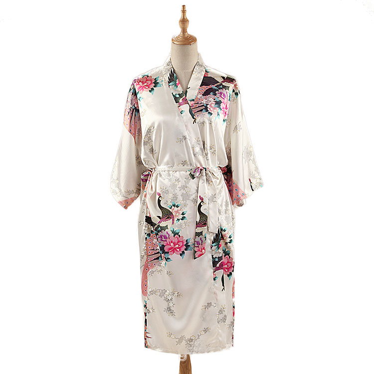Woman Loose Style Pajamas Home Sleep Wear Lace Up Peacock Print V-neck Night Gown Japanese Kimono Yukata Bathing Robe