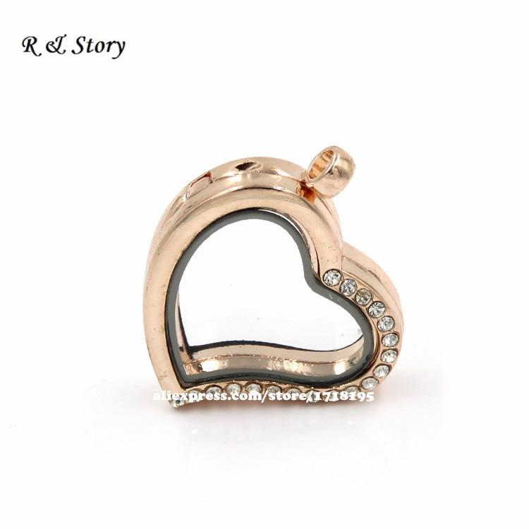 f4af0f6e6199b Rosa de Oro Curvo Heart Locket Flotante Encantos Flotantes Cristales Para  Todas Las Marcas LFL 051