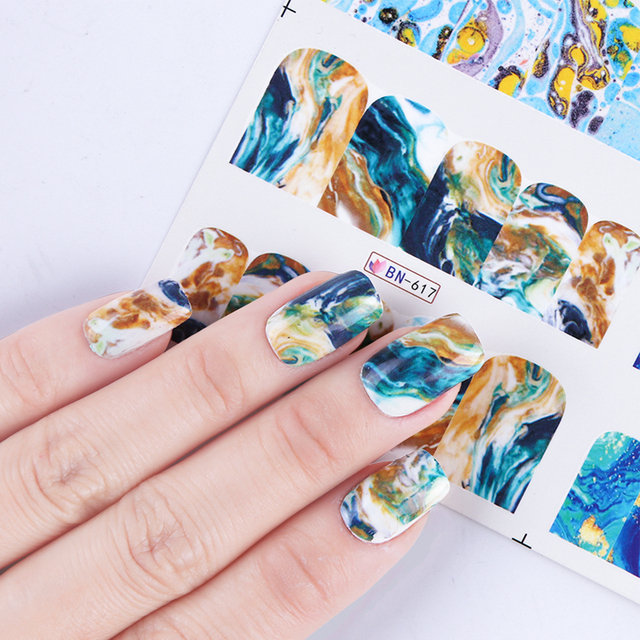12 Designs Marble Full Cover Water Transfer Sticker Nail Art Decals