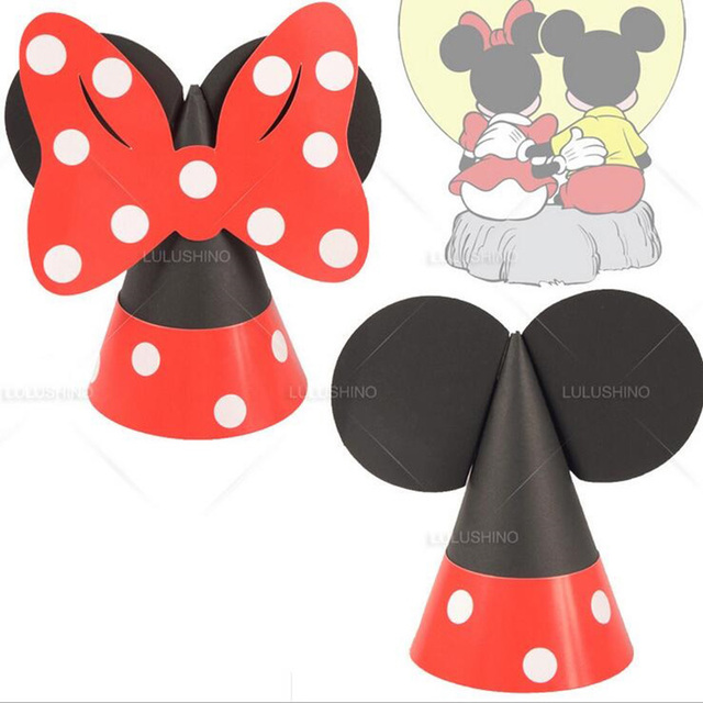 1pcs Hot Diy Mickey Minnie Mouse Party Hats Childrens Birthday Hat
