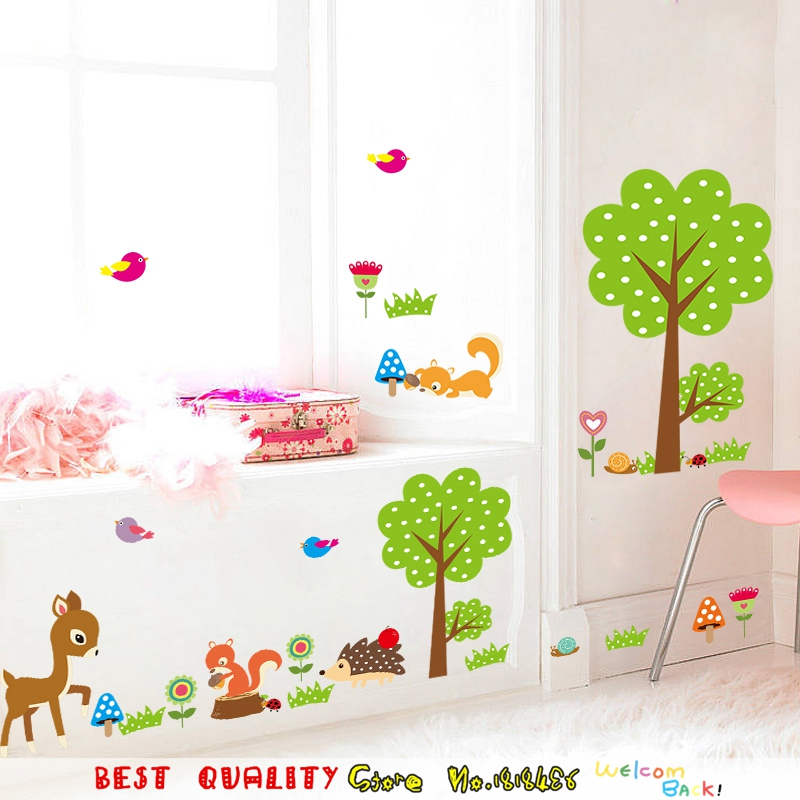 DIY Animal Zoo Deer Squirrel Trees Birds Waterproof Wall Stickers, Home Decoration Wall Decal Kids Bedroom Nursery Kindergarten