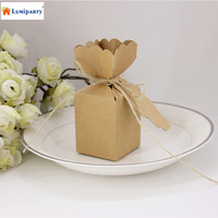 LumiParty 50 PCs Creative Wedding Favors Candy Boxes Vase Style Rustic Kraft Brown Square Cardboard Gifts