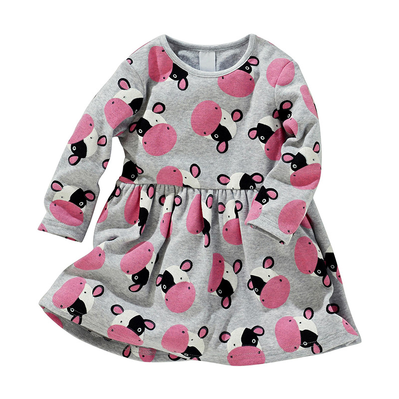 00b709671 Little maven 2 7Years Baby Kids Girls Cow Print Dress For Spring ...