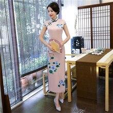 Women Elegant Rayon Sexy Chinese Dress Vintage Mandarin Collar Slim Long Cheongsam Traditional Print Flower Qipao M-XXXL