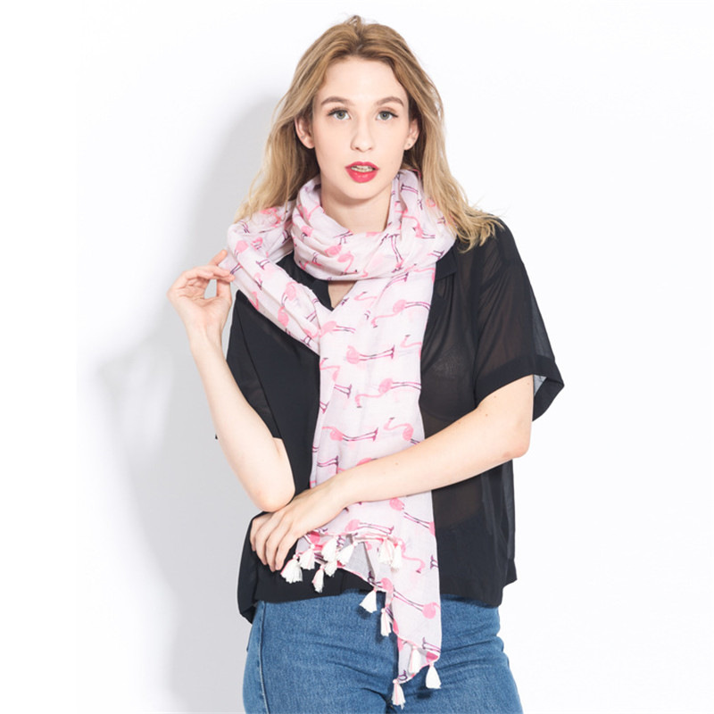 CoolCheer Sweet Long Section Cotton Scarves Flamingo Fashion Fresh Silk Women Scarves Holiday Travel Sunscreen Shawl Female