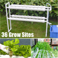 220V Hydroponic Grow Kit 36 Sites 4 Pipes 2 Layer Garden Plant Vegetable Tools Nursery Pots Hydroponic Rack Holder Gardening Box