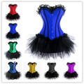 instylesFree shiping walsonstyles 036 blue red Burlesque Corset & tutu Fancy dress costume  Can Can outfit instyle