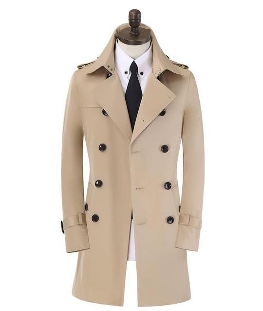 Trespassado longo trench coat homens slim fit mens casaco marca roupas cáqui azul bege preto moda plus size S-9XL