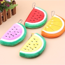 Small Size 9*14cm Embroidery Plush watermelon with seeds Pencil Case Print Cute School Supplies coin purse Pencilcase Pencil Bag