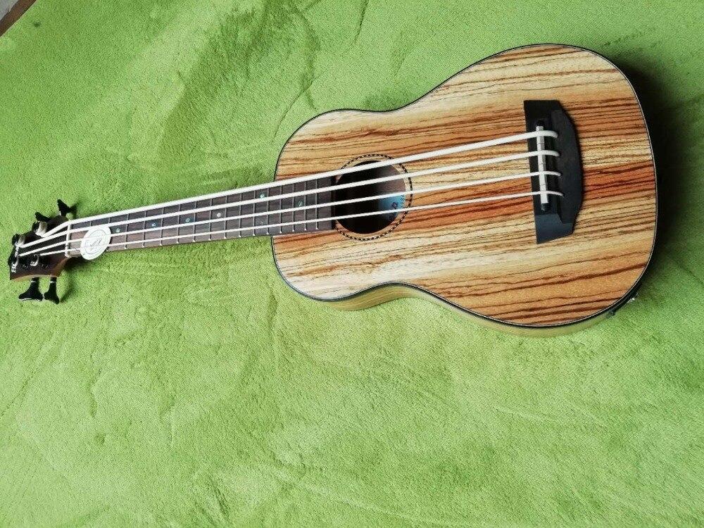 2018 new factory lefty 32 inches Ukulele bass zebrawood body 32 size left handed Ukulele electric