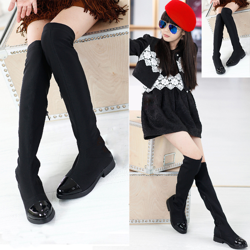2017 Long boots Spring and Autumn fashion children's elastic cloth men and women children knee boots martin boots kids shoes bra zhen zhou 2017 spring and autumn women s new fashion trend leadership the increased martin boots exemption from postage