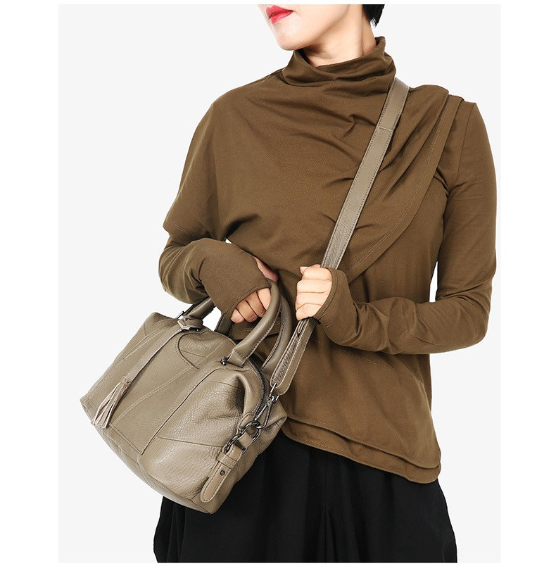 MJ Women Genuine Leather Handbag Female Real Cow Leather Tote Bag Ladies Large Capacity Shoulder Bag Crossbody Bags for Women (9)