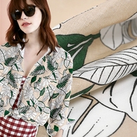 Hoja de plátano impresión de algodón de lino tejido de felpa para la camisa de vestir tecidos tissus tissu au metro tela barato shabby chic DIY chino