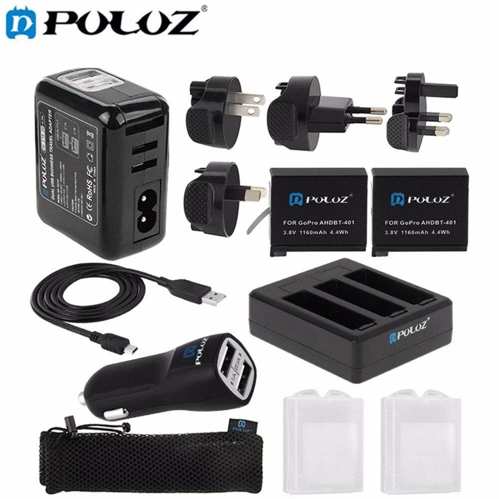 Puluz Батарея комбинированный комплект (стены Зарядное устройство комплект + Аккумуляторы + кабель + Автомобильное Зарядное устройство + Батар…