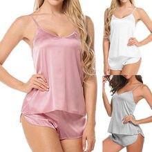 Womens Sexy Sleepwear Set Satin Sling Lingerie V-neck Underwear Ladies Pajama Sets
