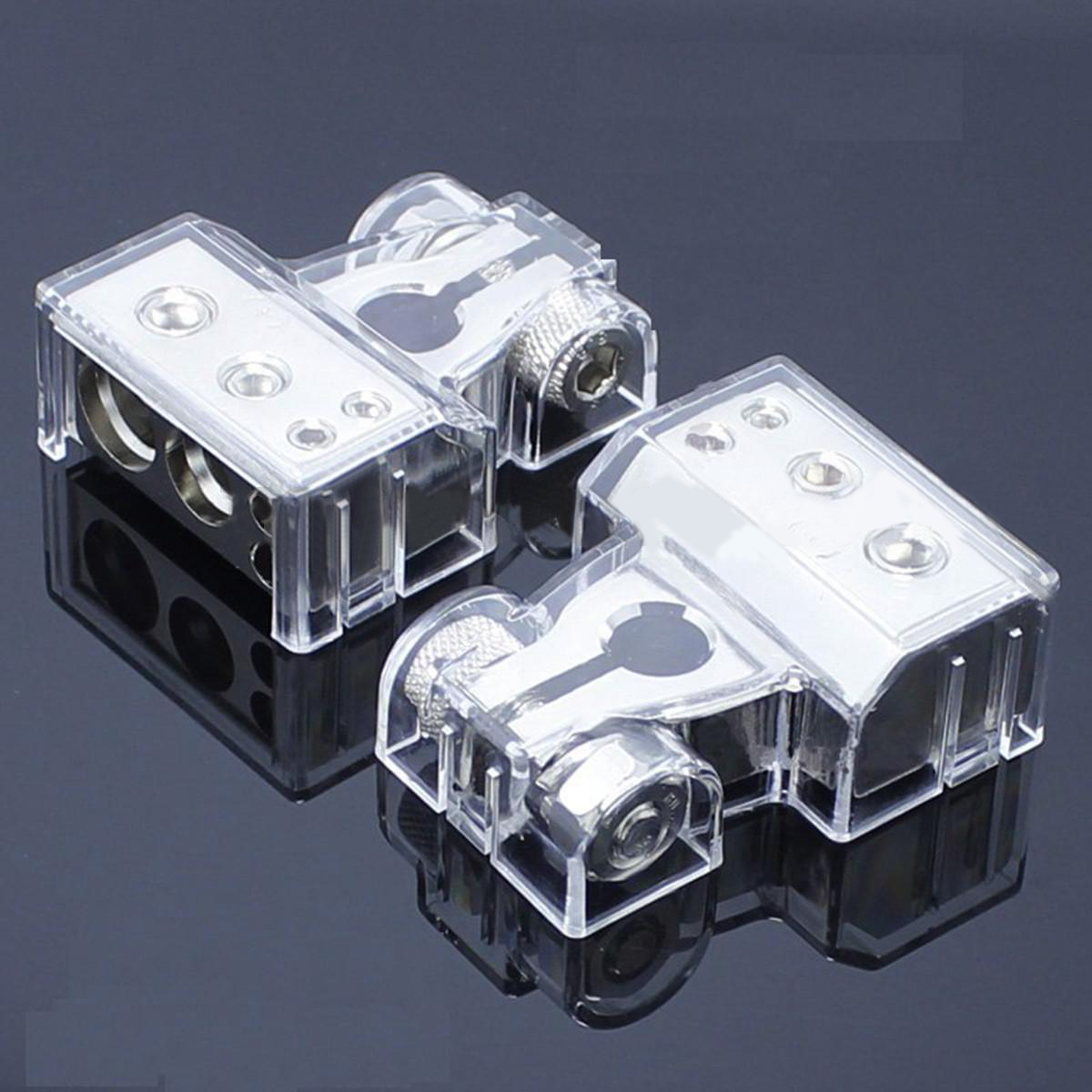 1 Pair New Car Battery Terminal 2/4/8 Gauge AWG Positive & Negative Clamp Connector Battery Silver promotion battery terminal clamp clips connector car truck auto vehicle parts brass battery switch 5