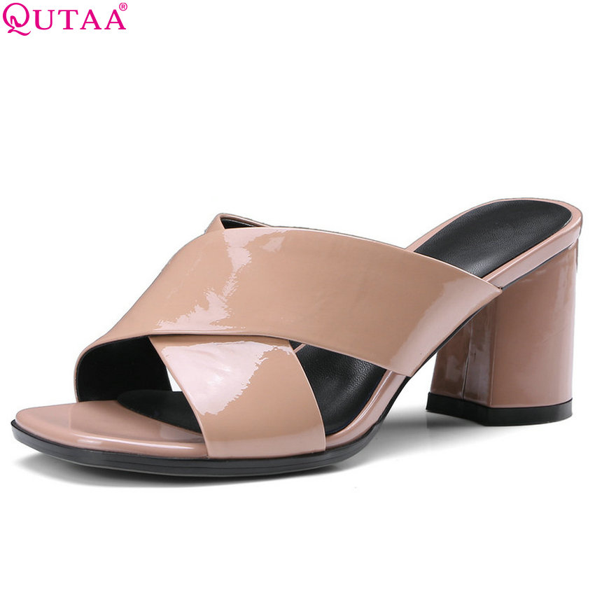 QUTAA 2018 Women Pumps Fashion Women Shoes Platform Slip on Cow Leather +pu Square Toe Elegant Casual Women Pumps Size 34-42 fashion women s pumps with engraving and pu leather design
