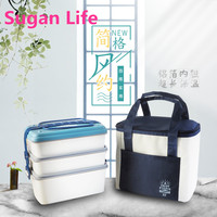 Sugan Life NEW Japanese Microwave Lunch Box For Kids Portable Leakproof School Bento Box Wheat Straw Children Food Container Box