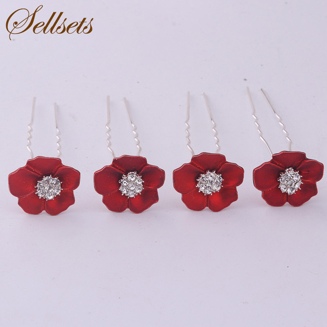 129d423c4 Sellsets Fashion Bridal Hair Jewelry Wholesale Mix 100pcs Red Flower Hair  Pin Crystal Hair Accessories For Women Wedding Gifts