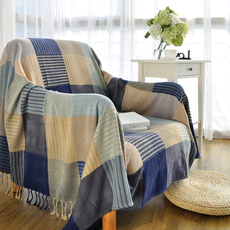 Blue Lattice Tassels Woven Soft Sofa Blankets Throws Rugs