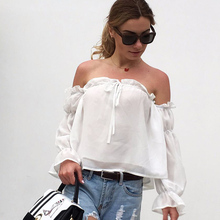 Sexy Slash Neck Off Shoulder White Blouse Tops Women Pleated Chiffon Ruffle Blouses Casual Summer Long Sleeve Shirts Plus Size stylish plus size scoop neck ruffle sleeve mesh blouse for women