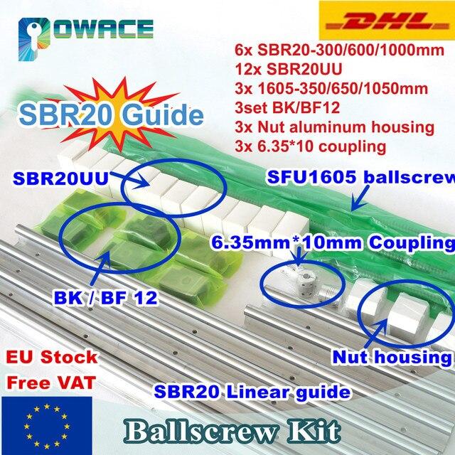 [EU/RU STOCK] SBR20 linear Rail L=300/600/1000mm&3set Ballscrew SFU RM1605  350/650/1050mm with Nut & 3set BK/BF12 &Couplings