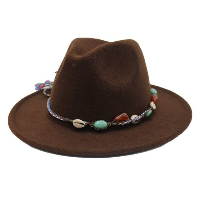 eccf3ef6b3f7c oZyc Wool Women Men Felt Fedora Hat With Tassel Bohemia Ribbon Elegant Lady  Winter Autumn Jazz