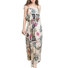Big Swing Dress Flounced Sleeveless Print Dress Fashion Summer Women's Printed Dress Strap Long Dress refreshing long sleeve tiny flower printed flounced dress for women
