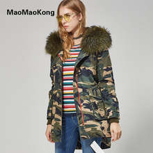 MAOMAOKONG 2016 Plus size Winter Coats Women Jackets Real Large Raccoon Fur Collar Thick Ladies Down & Parkas army green
