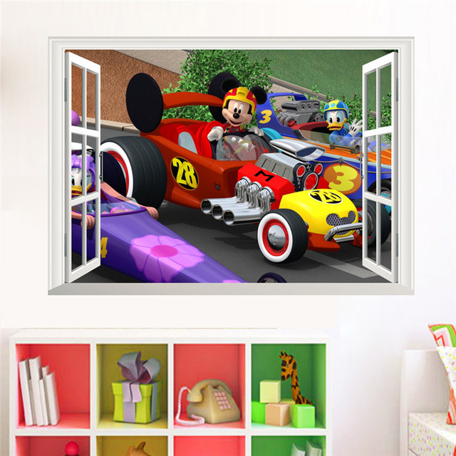 € 3.86 9% de réduction|Mickey Mouse Donald canard voiture de course  stickers muraux 3D fenêtre décor à la maison décoratif Mural affiche ...