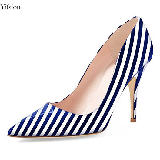 d55a92aef805 Yifsion Women Striped Shiny Pumps Sexy Thin High Heel Pumps Pointed Toe  Black Red Dark Blue