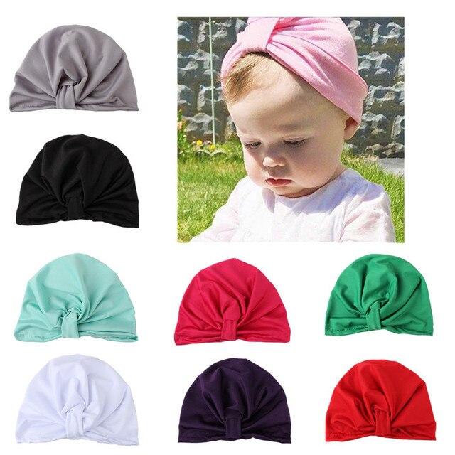 4 Pcs Bébé Filles Garçons Coton Doux Turban Noeud Chapeau Infantile enfant  Bonnets Cap Solide Indien b4d23866011