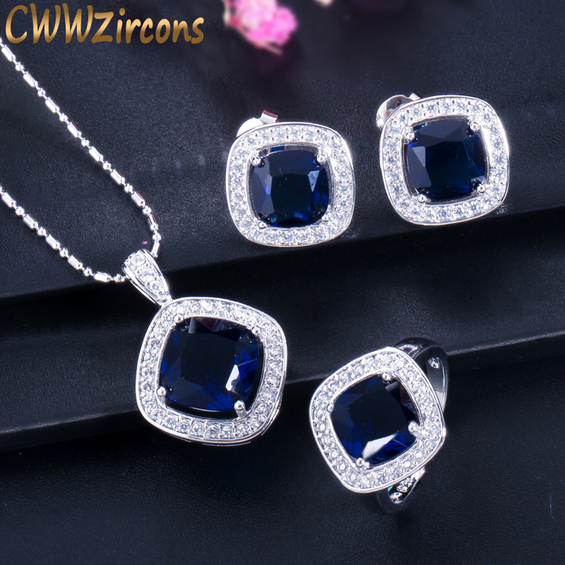 Dark Blue Sapphire Crystal Necklace