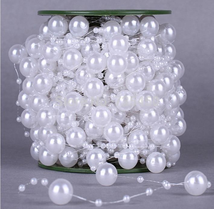 10 Meters Fishing Line Artificial Pearls Beads Chain Garland Flowers DIY We S1