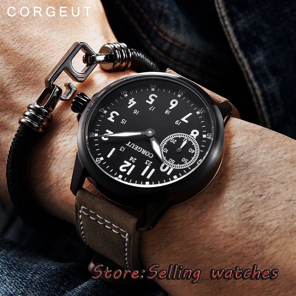цена на 45mm Corgeut black dial brushed PVD case 6497 hand winding movement mens watch