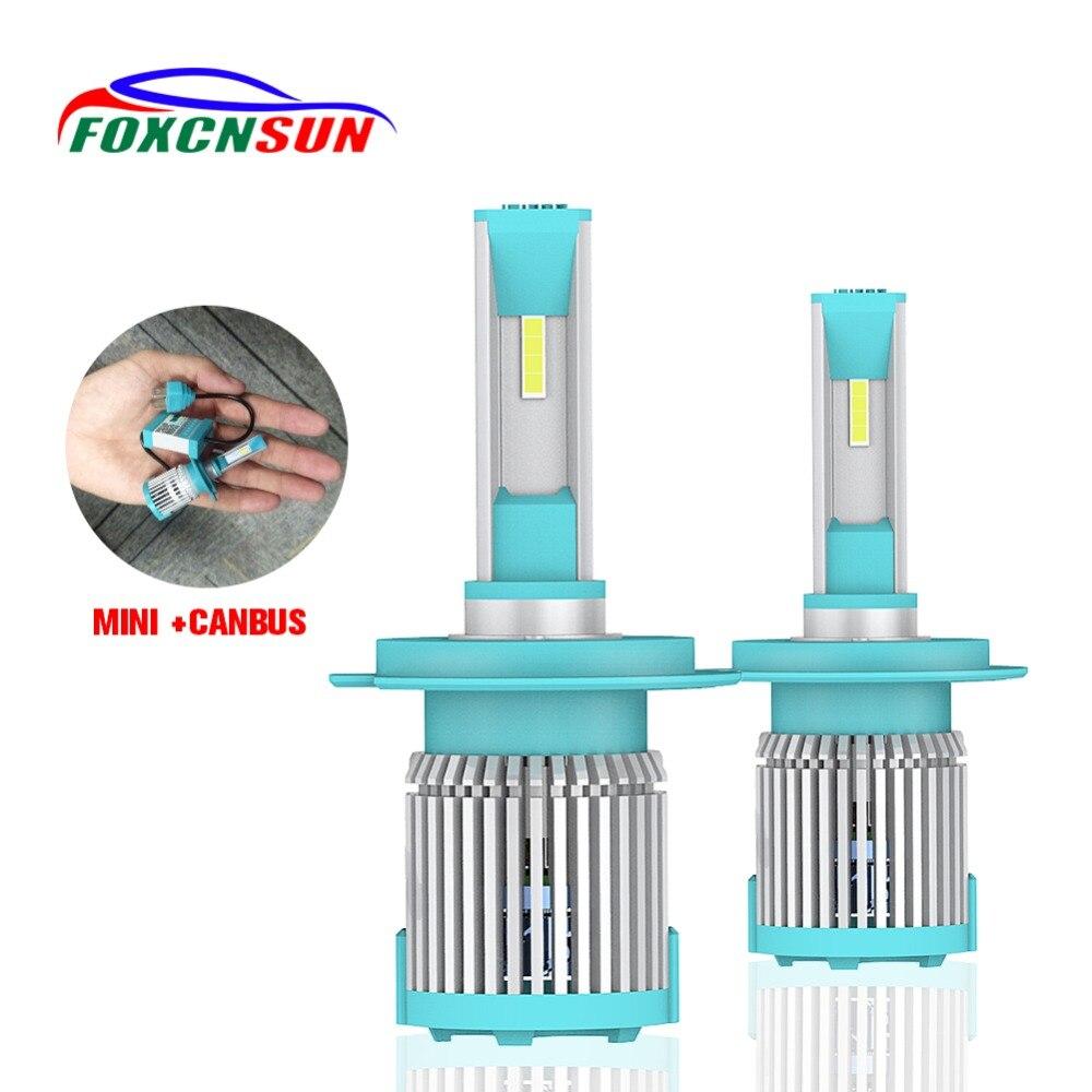 FOXCNSUN H4 H7 LED Del Faro Dell'automobile 1860 Chip H1 H4 H11 Ha Condotto le lampadine HB4 HB3 9006 9005 HI lo FASCIO canbus 8000LM 6500 k 72 w Auto lampada