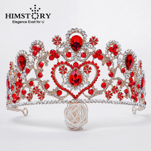 HIMSTORY Gorgeous Red Pageants Tiaras and Crowns Big Blue Rhinestone Queen Crown High Heart Wedding Hair Accessories